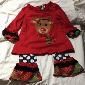 Rare editions 2T Christmas reindeer set guc